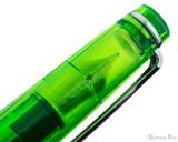 Sailor Professional Gear Slim Fountain Pen - Transparent Green with Rhodium Trim - Cap Transparency