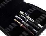 Girologio 24 Pen Case - Black Leather - Open with Pens Closeup