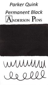 Parker Quink Permanent Black Ink Cartridges color swab