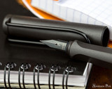 Lamy Safari Fountain Pen - Charcoal - Nib Closeup on Notebook
