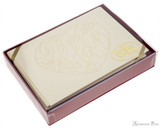 G. Lalo Tresor Notecards - 4.25 x 6, Heart - Ivory with Gold