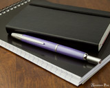 Pilot Vanishing Point Decimo Fountain Pen - Purple - On Notebook