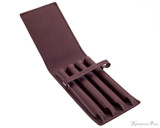 Girologio 4 Pen Case - Brown Leather - Open