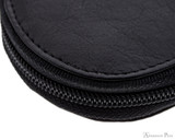 Girologio 3 Pen Zipper Case - Black Leather - Stitching and Zipper