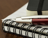Pilot Vanishing Point Decimo Fountain Pen - Burgundy - Nib on Notebook