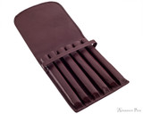 Girologio 6 Pen Case - Brown Leather - Open