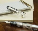 Pilot Custom 74 Fountain Pen - Clear - Nib on Table