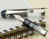 Pilot Custom 74 Fountain Pen - Clear - Nib on Notebook