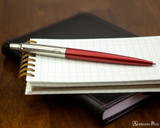 Parker Jotter Ballpoint - Kensington Red - Open on Notebook