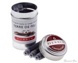 J. Herbin Terre de Feu Ink Cartridges (6 Pack) loose with container