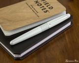 Pilot Metropolitan Fountain Pen - White Tiger - Closed on Notebook