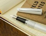 Pilot Metropolitan Fountain Pen - White Tiger - Open on Notebook