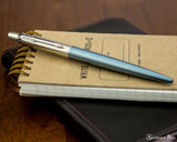 Parker Jotter Ballpoint - Waterloo Blue - On Notebook