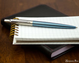 Parker Jotter Ballpoint - Waterloo Blue - Open on Notebook