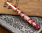 Platinum 3776 Celluloid Fountain Pen - Koi - Closed on Notebook
