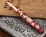 Platinum 3776 Celluloid Fountain Pen - Koi - Closed on Notebook