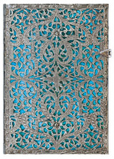 Paperblanks Midi Journal - Silver Filigree Maya Blue, Lined