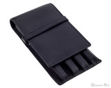 Girologio 4 Pen Case - Black Leather