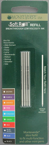 Monteverde Mini Ballpoint Refill - Black, Medium (4 Pack)