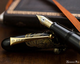 Namiki Chinkin Fountain Pen - Rooster - Open on Notebook