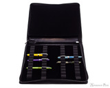 Girologio 48 Pen Case - Black Leather - Open with Pens
