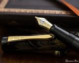Namiki Chinkin Fountain Pen - Silver Grass - Open on Notebook