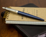 Parker Jotter Ballpoint - Royal Blue - On Notebook
