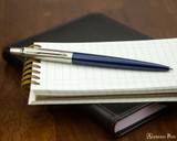 Parker Jotter Ballpoint - Royal Blue - Open on Notebook
