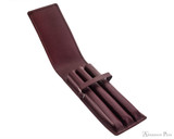Girologio 3 Pen Case - Brown Leather - Open