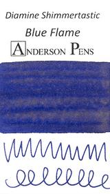 Diamine Shimmertastic Blue Flame Ink Color Swab