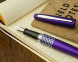 Pilot Metropolitan Fountain Pen - Retro Pop Purple - Open on Notebook