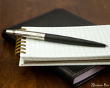 Parker Jotter Ballpoint - Bond Street Black - Open on Notebook