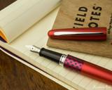 Pilot Metropolitan Fountain Pen - Retro Pop Red - Open on Notebook