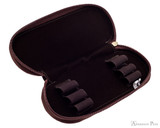Girologio 3 Pen Zipper Case - Brown Leather - Open