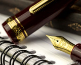 Sailor 1911 Large Fountain Pen - Maroon with Gold Trim - Nib on Notebook