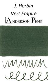 J. Herbin Vert Empire Ink Cartridges color swab