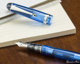 Pilot Custom 74 Fountain Pen - Blue - Open on Notebook