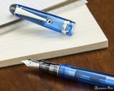 Pilot Custom 74 Fountain Pen - Blue - Open on Notebook