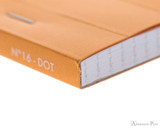Rhodia No. 16 Staplebound Notepad - A5, Dot Grid - Orange binding closeup