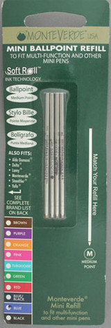 Monteverde Mini Ballpoint Refill - Blue, Medium (4 Pack)