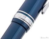 Sailor Pro Gear Slim Fountain Pen - Metallic Blue with Rhodium Trim - Cap Band
