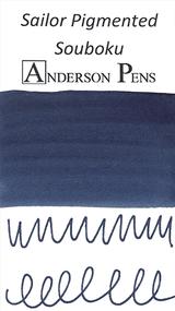 Sailor Souboku Pigmented Blue-Black Ink Cartridges  color swab