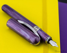 Visconti Breeze Fountain Pen - Plum on Notebook Open