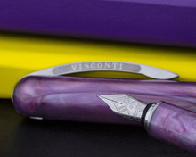 Visconti Breeze Fountain Pen - Plum on Notebook Nib