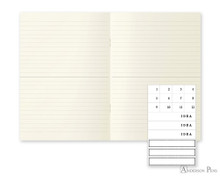 MD Notebook Light A6 Ruled Lines 3 Pack Japanese Caption - Open