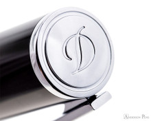 S.T. Dupont D-Initial Black and Chrome Fountain Pen - Cap Top