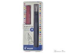 Pilot Kakuno Fountain Pen - Gray with Red Cap, Medium Nib - Box