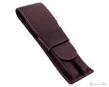 Girologio 2 Pen Case - Brown Leather