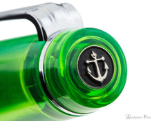 Sailor Professional Gear Slim Fountain Pen - Transparent Green with Rhodium Trim - Cap Jewel