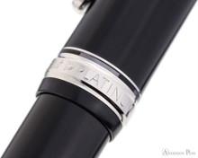 Platinum 3776 Century Fountain Pen - Black Diamond with Rhodium Trim - Cap Band 2